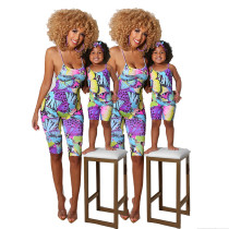 Mother and Daughter Spaghetti Strap Criss-cross Backless Printed Tight Jumpsuit