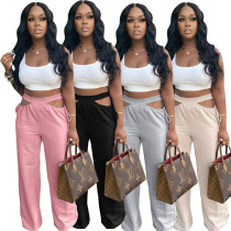 Women's Fashion Casual Pants Hollow Out Bandage Solid Color Long Pants Trousers