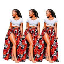 Fashion Women Sexy Floral Print High Slit Summer Casual All-match Long Skirt