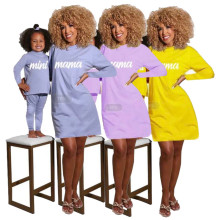 Newly Family Matching Outfits Mother and Daughter Letter Print Jumpsuit Dress
