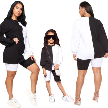 Family Matching Outfits Mother and Daughter Long Sleeve Color Block Outfits 2pcs