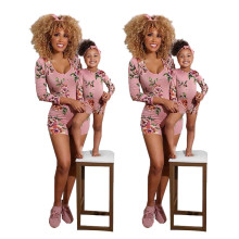 Mother and Daughter Long Sleeve Floral Print Bodycon Short Jumpsuit Homewear