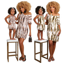Summer New Family Matching Mother and Daughter Tie-dyed Print Dress Casual Wear