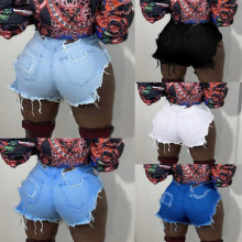 Women Casual Club Party Stretch Destroyed Broken Hole Denim Pants Jeans Shorts