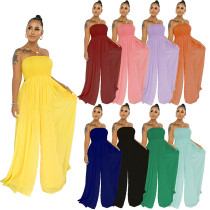 Women Stylish Strapless Off the Shoulder Solid Color Chiffon Wide Leg Jumpsuit