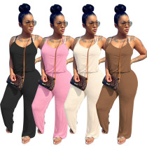 Women's Fashion Casual Spaghetti Strap Solid Color Cotton Boot-cut Jumpsuit