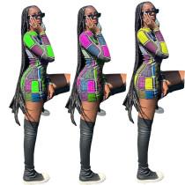 Women Fashion Long Sleeve Colorful Stripe Print Casual Club Bodycon Short Dress