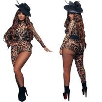 Women Sexy Long Sleeve Leopard Print Zipper Bodycon Mesh Irregular Jumpsuit