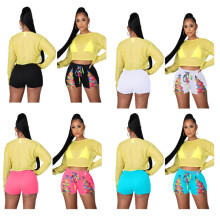 Women Fashion Solid Color Lace-up Casual Summer Short Pants