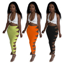Women's Ladies Solid Color Knotted Hollow Out Casual Club Bodycon Pencil Skirt