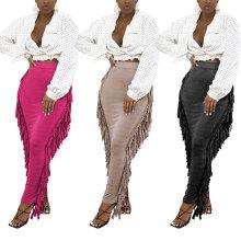 Women All-match Elastic Waist Solid Color Tasseled Slim Casual OL Pencil Skirt