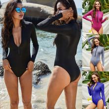 (S-5XL)Women Long Sleeves Zipper Beach Swimwear One Piece Monokini Swimsuit Bikini