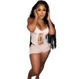 Sexy Women Halter Sleeveless Lace UP Backless Ruched Solid Short Pants Set