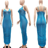 Women Sexy V Neck Spaghetti Strap Tie Sheer Solid Mesh Ruched Bodycon Dress
