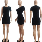 Women Casual Fashion Single Sleeve Solid Color Bodycon Mini Package Hip Dress