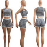 Women's Fashion Sleeveless Stripes Print Summer Casual Short Pants Set 2pcs