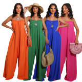 Fashion Women's Spaghetti Strap Solid Color Backless Loose Casual Jumpsuit