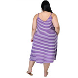 Explosive style striped print sling loose large size ladies dress