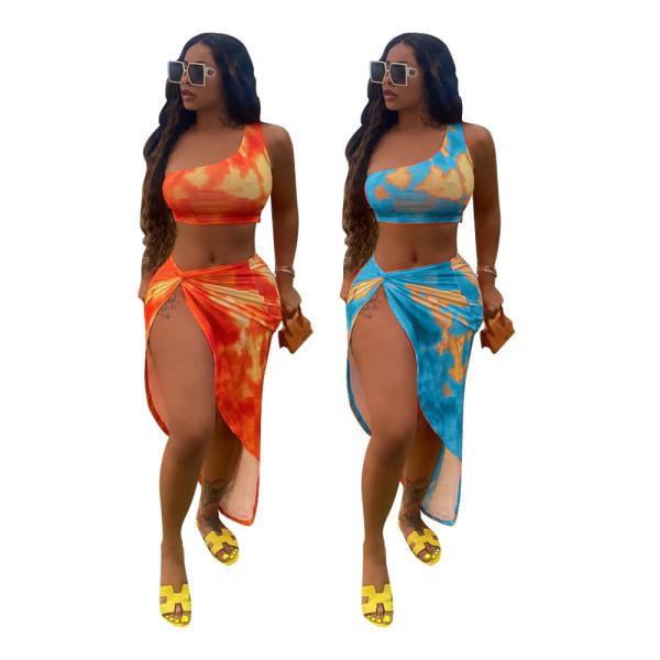 Women Sexy One Shoulder Sleeveless Vest Tie-dyed Print Irregular Dress 2pcs