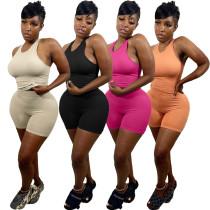 Women Fashion Casual Sleeveless Vest Solid Color Bodycon Short Jumpsuit 2pcs