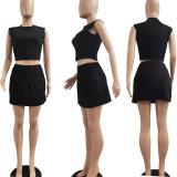 Women Fashion Sleeveless T-shirt Solid Color Casual Club Mini Pantskirt 2pcs