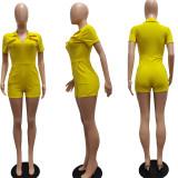 Women Fashion Turn-down Neck Short Sleeve Zipper Pockets Solid Short Jumpsuit