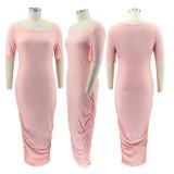 Explosive solid color U-neck short-sleeved pleated ladies long dress