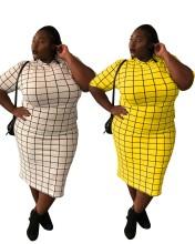 Plus Size Women's Short Sleeve Plaids Print Casual OL Fashion Pencil Dress