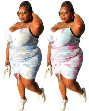 Plus Size Women Tie Strap Drawstring Tie-dyed Backless Casual Bodycon Dress