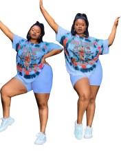 Plus Size Women Short Sleeve Letter Print Two Piece Pants Set