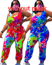 Plus Size Women Sleeveless Tie-dyed Print Zipper Ankle Banded Jumpsuit(no mask)