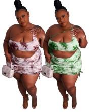 Plus Size Women Sexy One Shoulder Tie-dyed Print Drawstring Irregular Dress 2pcs
