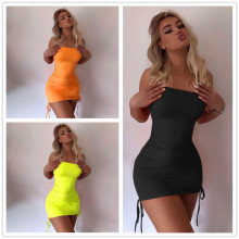 XS-XL Women Strapless Solid Color Drawstring Bodycon Dress