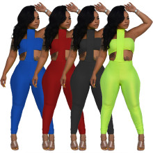 Women Fashion Sexy Tube Top Halter Tie Backless Solid Bodycon Jumpsuit 2pcs
