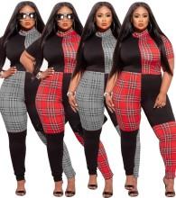Plus Size Women Short Sleeve Check Print Patchwork Bodycon Jumpsuit