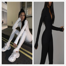 XS-L Women Long Sleeve Zipper Solid Color Bodycon Jumpsuit
