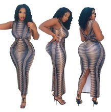 Plus Size Women Sleeveless Printed Backless Slit Casual Party Bodycon Dress