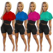 Women Fashion Short Sleeve Color Block Nipper Waist Casual Short Pants Set 2pcs