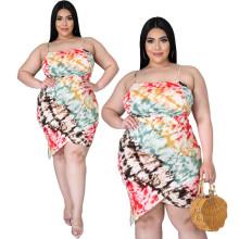 Plus Size Women Spaghetti Strap Ruched Tie-dyed Print Asymmetrical Hem Dress