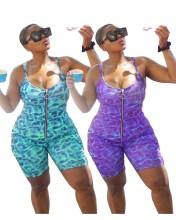 Plus Size Women's Spaghetti Strap Zipper Printed Backless Bodycon Jumpsuit