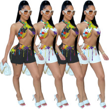 Women Halter Backless Bandage Colorful Ink Print Bodycon Party Short Pants Set