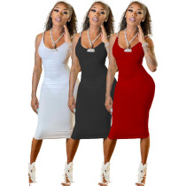 Summer Women Sexy Metal Chain Strap Solid Color Casual Club Midi Bodycon Dress