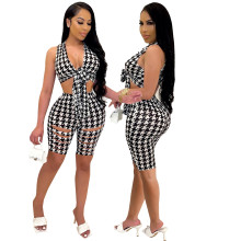 2021 summer new women's fashion casual printing two-piece suit