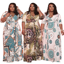 Plus Size Women's V Neck Half Sleeve Printed Belted Casual Party Long Dress