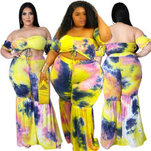 Plus Size Women Off Shoulder Short Sleeve Drawstring Tie-dyed Boot-cut Outfits