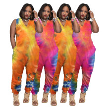 Women Sleeveless V Neck Tie Dye Cotton Blend Loose Pockets Casual Home Jumpsuit