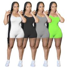 Women Sexy Spaghetti Strap Solid Color Short Jumpsuit Casual Summer Romper