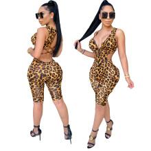 Sexy women's fashion casual leopard print cutout zipper jumpsuit