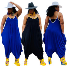 New Women Plus Size Spaghetti Strap Solid Color Backless Pockets Loose Jumpsuit