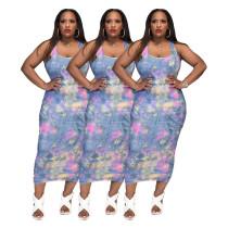 Summer Women Fashion Bodycon Dress Sleeveless Printed Slim Midi Pencil Dress